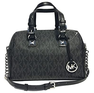 426e542073a657 Michael Kors Grayson Medium Chain Signature Satchel (Black with Silver  Hardware)
