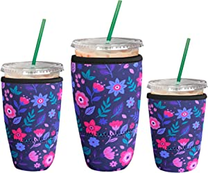 3 Pack Reusable Iced Coffee Sleeve | Insulator Cup Sleeve for Cold Drinks Beverages | Neoprene Cup Holder | Ideal for Starbucks, McDonalds, Dunkin Donuts & More (Neon Floral)