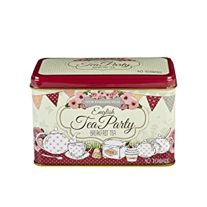 New English Teas English Tea Party Tea Tin with 40 English Breakfast Teabags