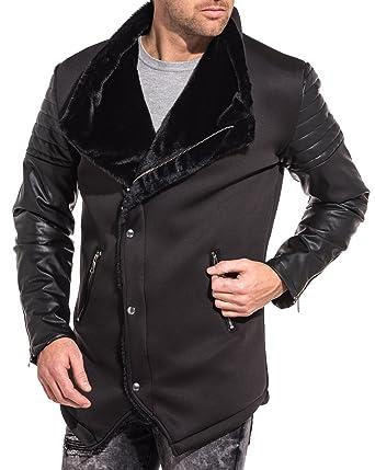 Uniplay Blouson Noir bi matière Effet Cuir fourré Homme
