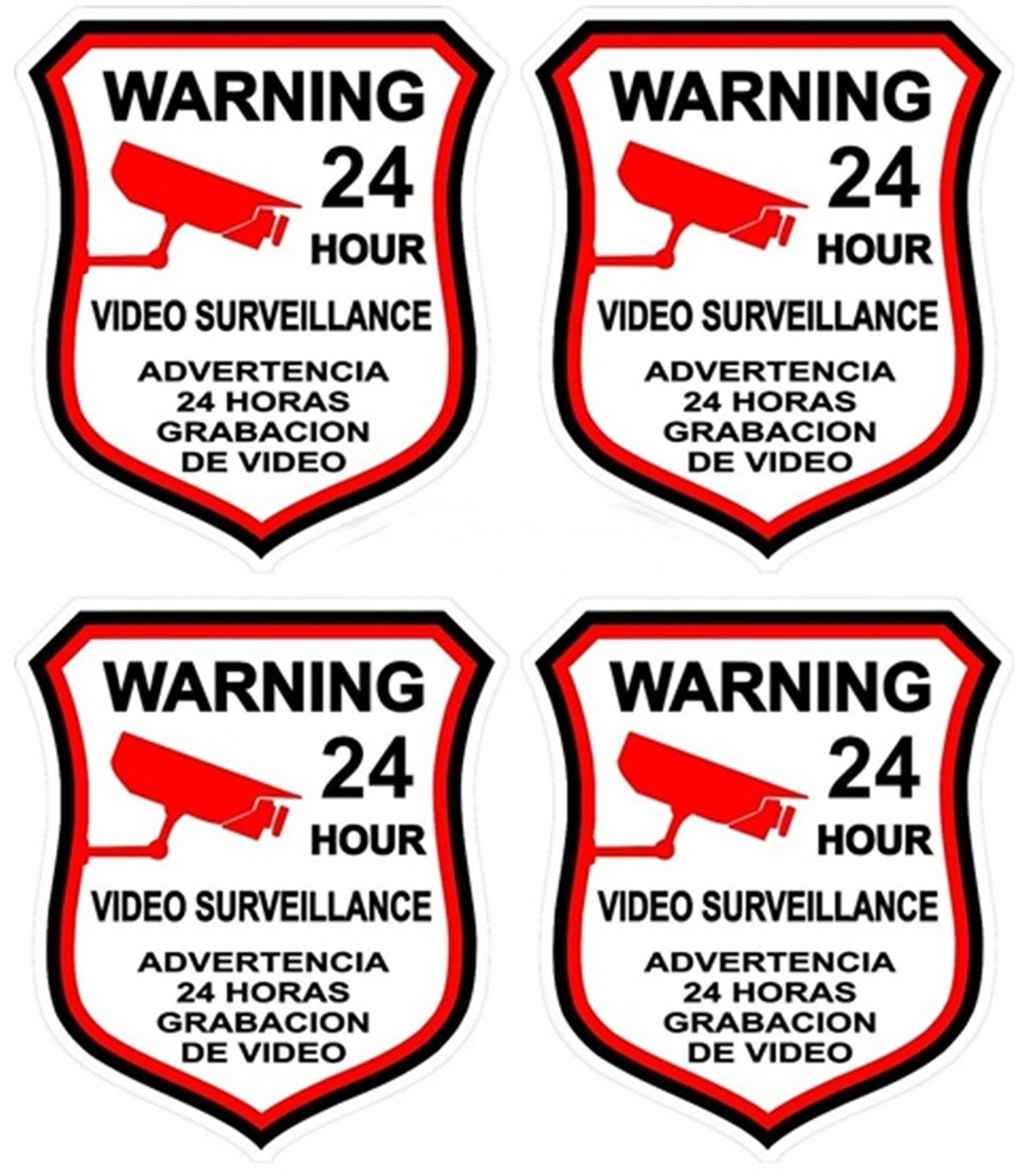 4 Pcs Heart-Stopping Unique Warning 24 Hour Video Surveillance Sticker Sign Home Bumper Security Hr Decals Outdoor Holder House Neighbor Business Burglar Fence Property Signs Size 3''x4.5'' Spanish by Chiam-Mart