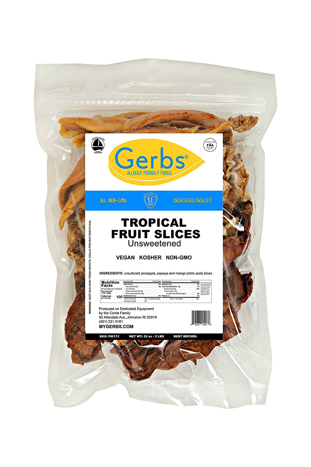 Tropical Unsweetened Fruit Mix, 2 LBS By Gerbs - Top 12 Food Allergy Free &  NON GMO Sulfur Dioxide &