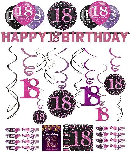 Libetui 18 Cumpleaños Decoración - Juego de decoración Rosa ...