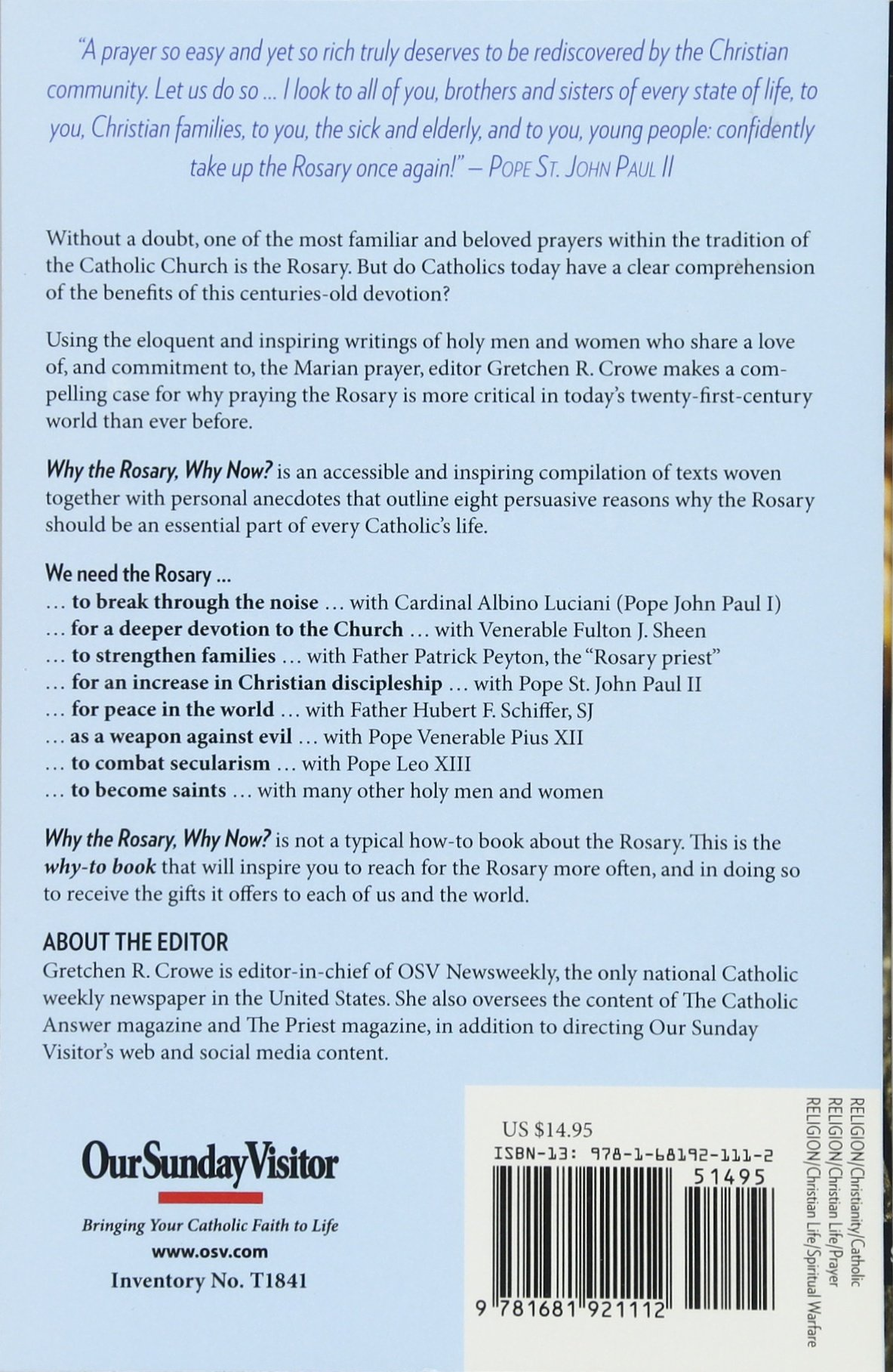Why the Rosary, Why Now?: Gretchen Crowe: 9781681921112