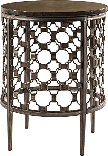 Hillsdale Furniture Hillsdale Brescello Round End Table, 18 , Charcoal Blue Stone