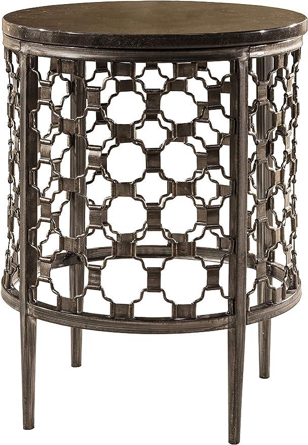 "Hillsdale Furniture Hillsdale Brescello Round End Table, 13"", Charcoal/Blue  Stone"