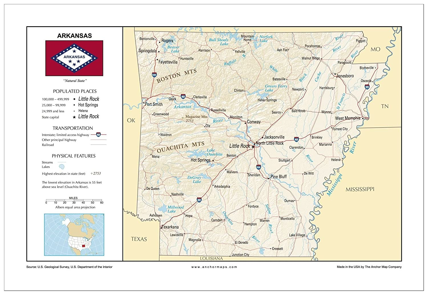 Amazon.com : 13x19 Arkansas and 13x19 United States General ...