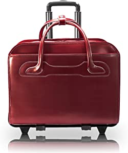 McKleinUSA Willowbrook 94986 Red Detachable-Wheeled Ladies' Briefcase