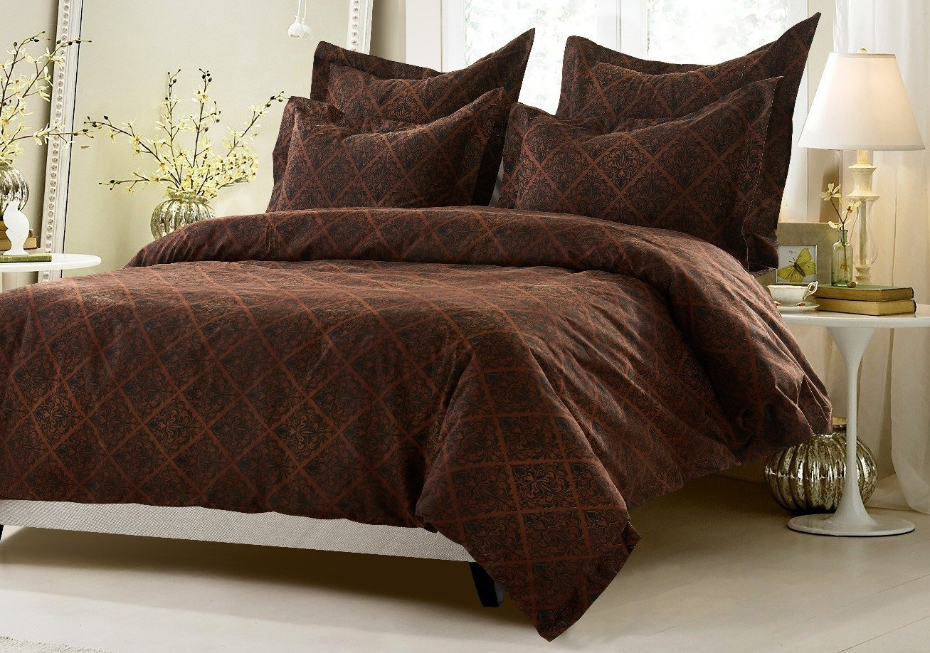 6pc Brown Diamond Design Bedding Set