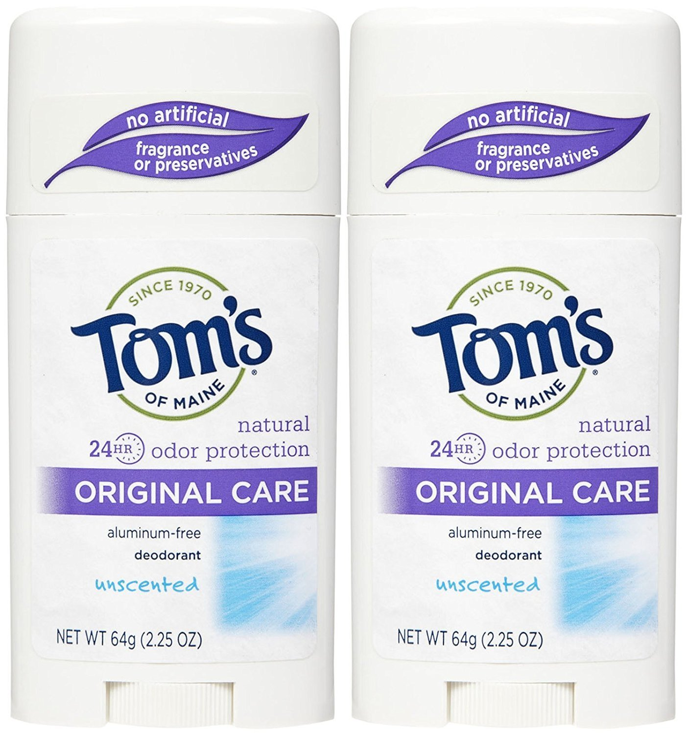 Tom's of Maine Natural Deodorant Stick Unscented 2.25 oz (Pack of 2)