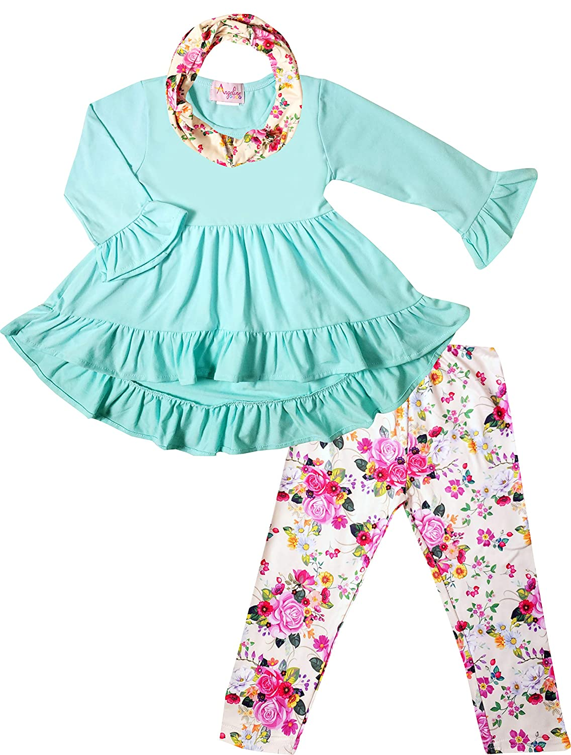 Unique Boutique Designs /& Quality Toddler Little Girls Spring Colors Easter Outfits Top Leggings Scarf Set