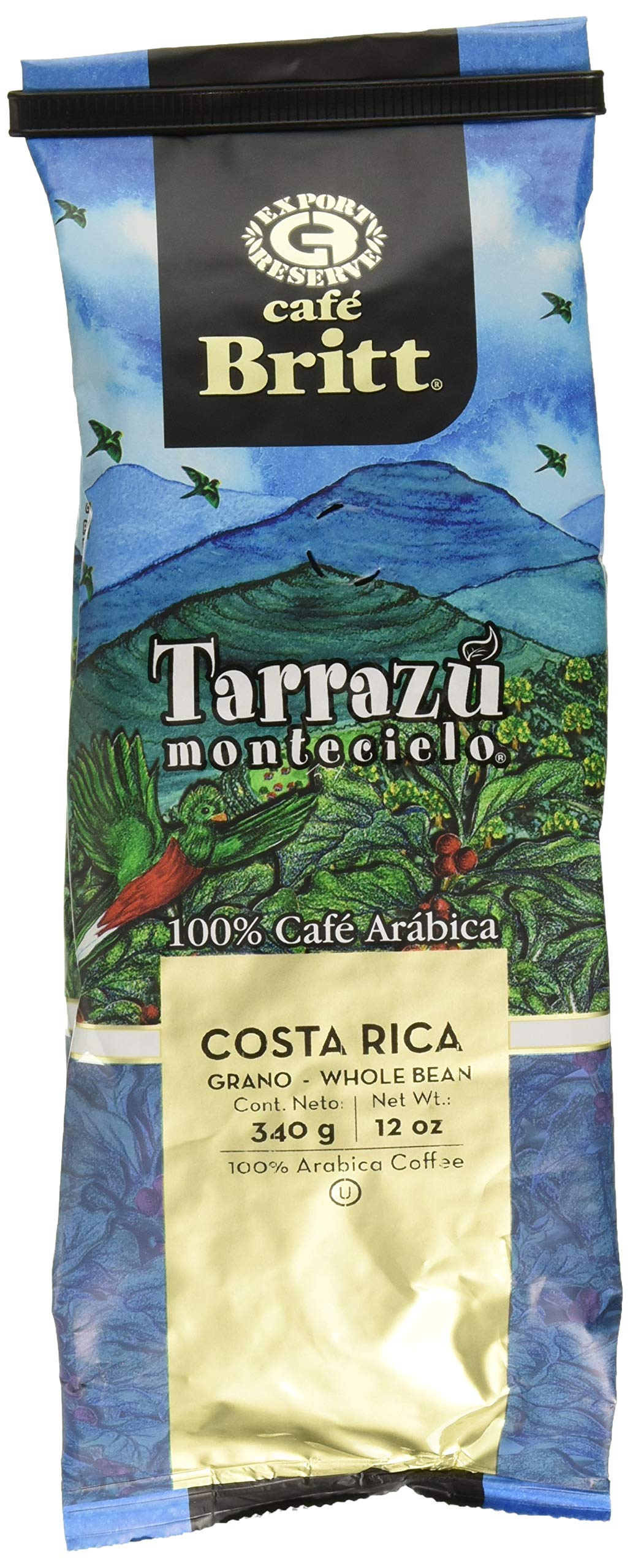 Cafe Britt Tarrazu Montecielo Whole Bean Coffee, 12-Ounce Bags (Pack of 2) by Cafe Britt