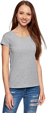 oodji Ultra Mujer Camiseta Básica de Algodón (Pack de 2 Unidades ...