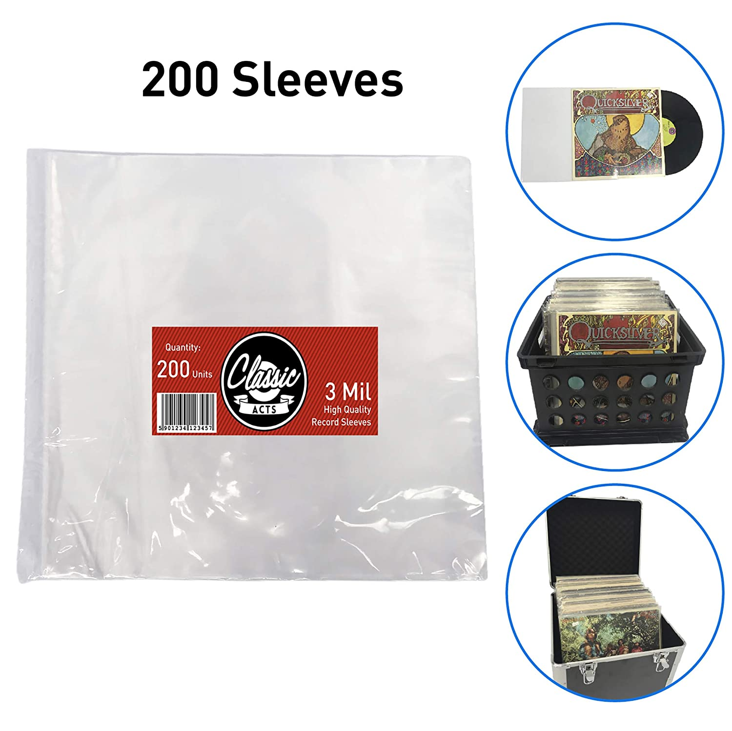 "Classic Acts Vinyl Record Sleeves Protect Your Album Covers - LP Sleeves Fit Single and Double Albums – Size: 12.5"" X 12.75"" - 3 Mil Thick (200 Pack) EasyGo Products EGP-SLV-004"