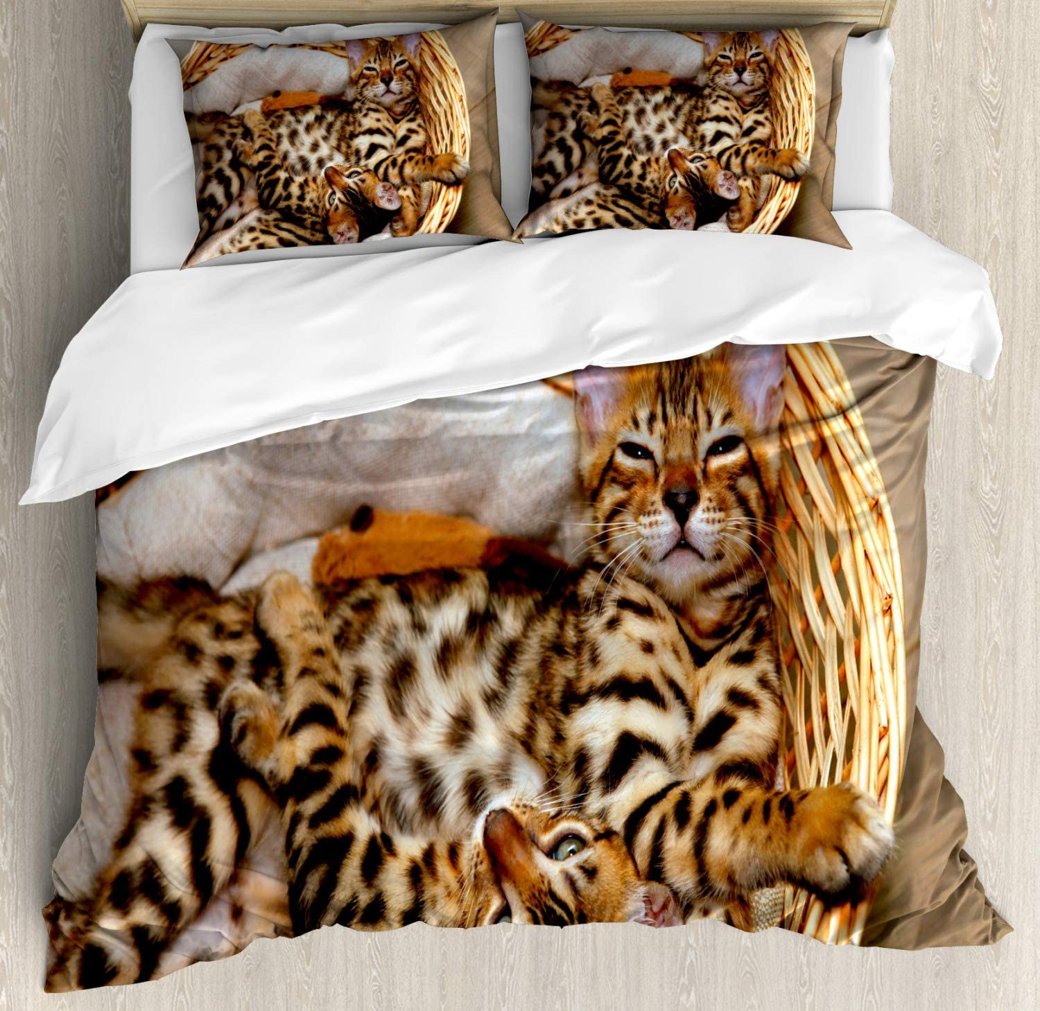 Amazon Com Ambesonne Kitten Duvet Cover Set Little Bengal Cats In Basket Cuddly Purebred Kitties Domestic Feline Decorative 3 Piece Bedding Set With 2 Pillow Shams King Size Brown Beige Home Kitchen