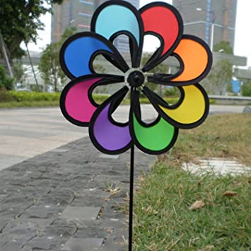 Flower Windmill Toys Outdoor Colorful Pretty Wind Spinner For Children  Garden Camping Playing