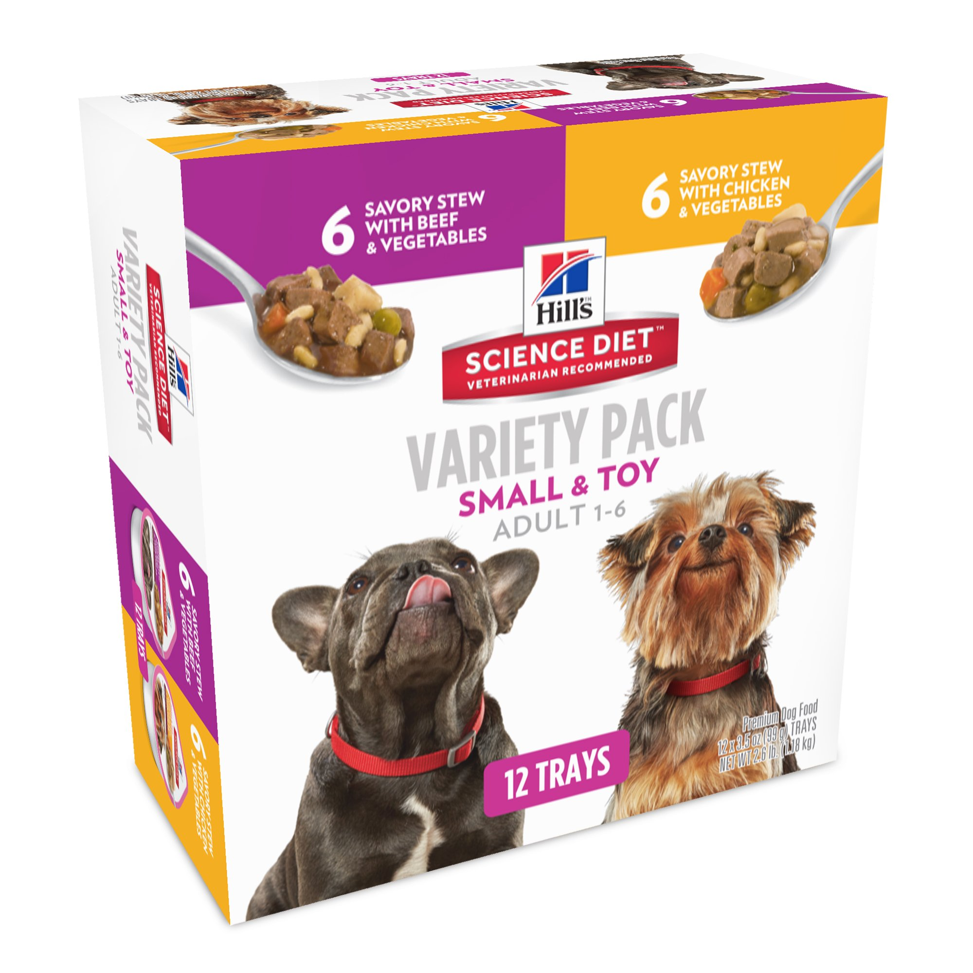 Hill's Science Diet Adult Small & Toy Breed Wet Dog Food, Savory Stew Variety Pack Dog Food Tray, 3.5 oz, 12-Pack