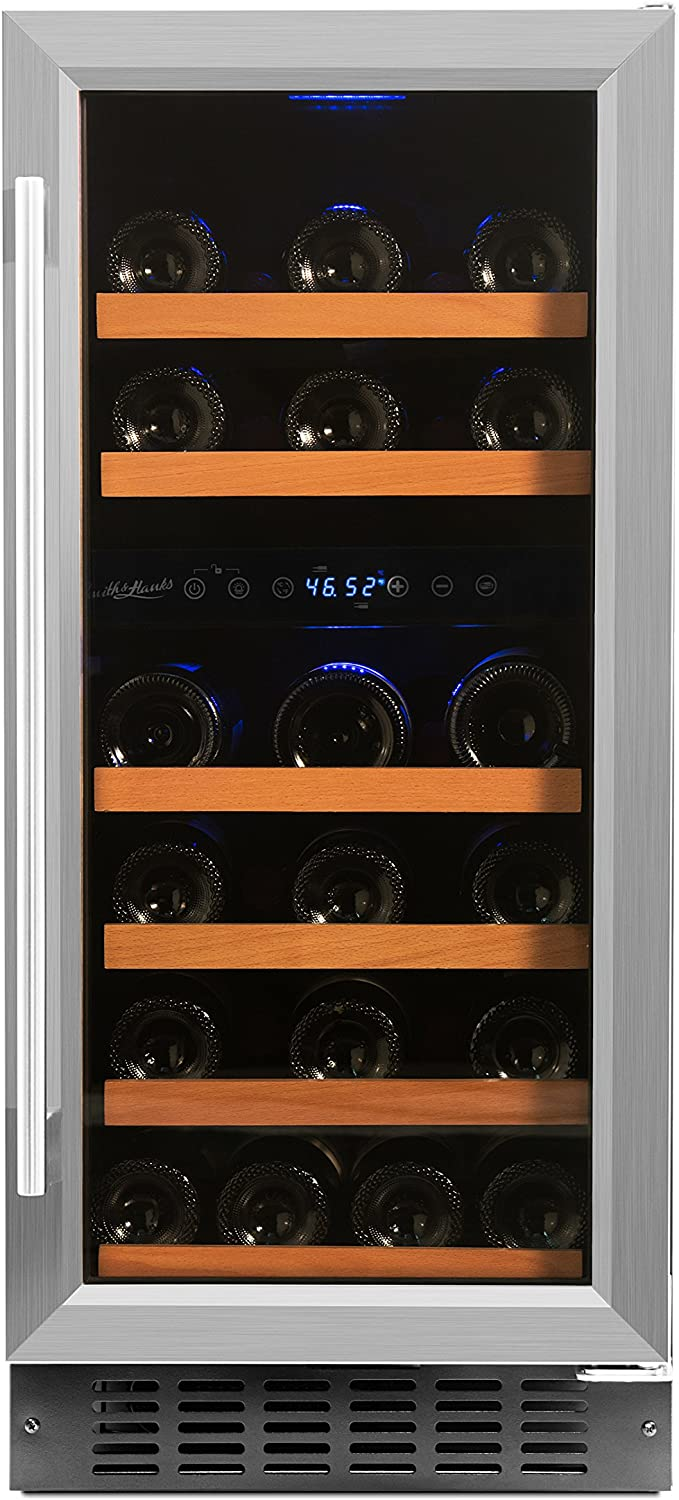 Smith Hanks 32 Bottle Under Counter Wine Refrigerator, Dual Temperature Zones, 15 Inches Wide, Built-In or Free Standing