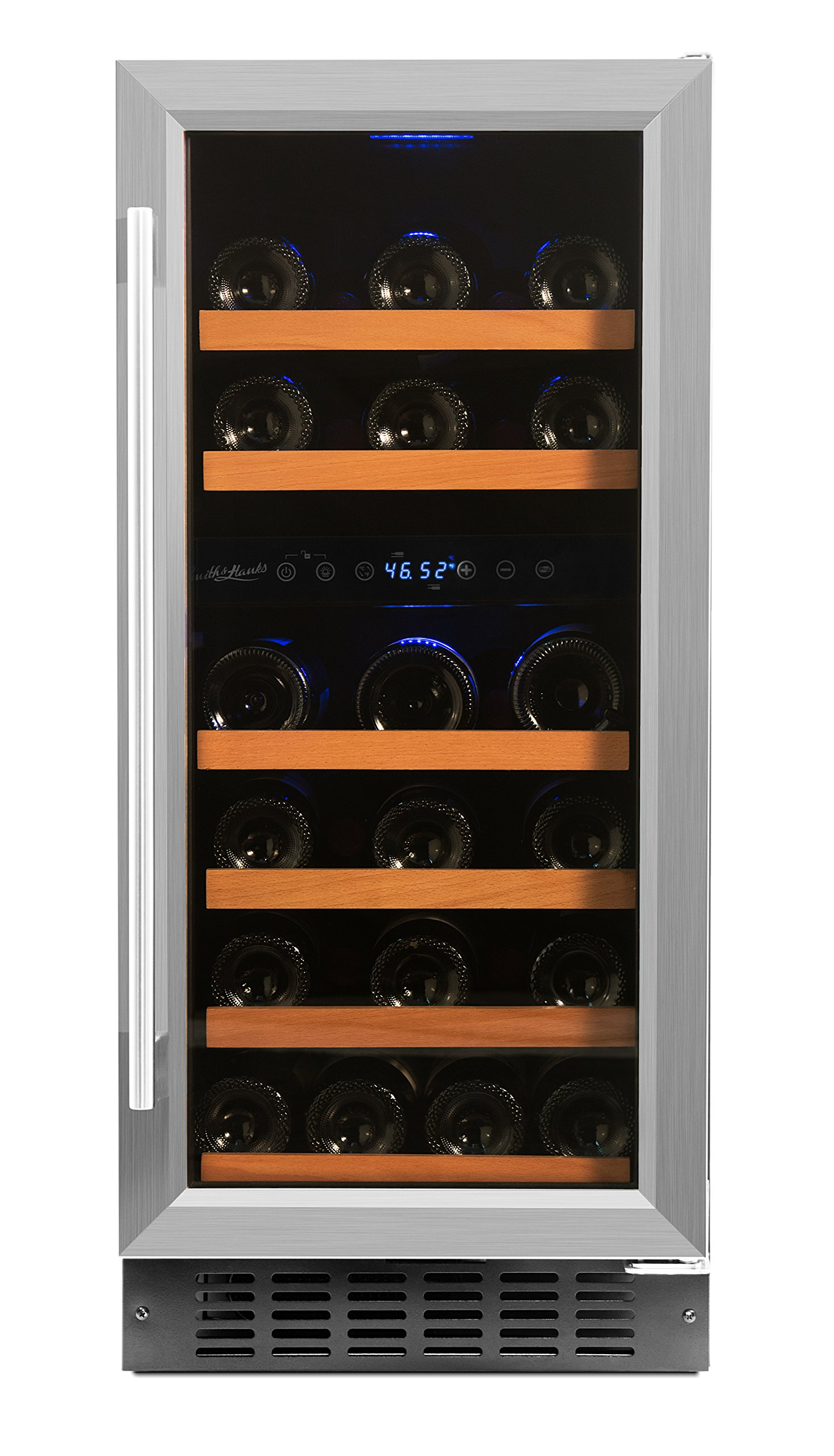 Smith & Hanks 32 Bottle Under Counter Wine Refrigerator, Dual Temperature Zones, 15 Inches Wide, Built-In or Free Standing by Smith & Hanks