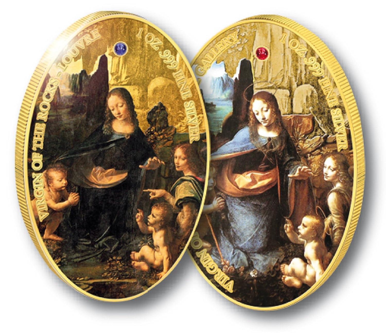 FelsgrottenmaDamens von Vinci Leonardo da Vinci von | zwei Farbmünzen | Ascension | Rubin | Saphir | Gemälde | Edelsteine | Kunstwerk | Junfrau Maria mit dem Christuskind 256716