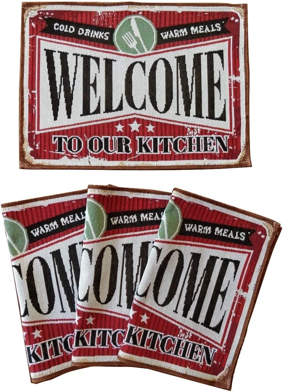 GRANITE MOUNTAIN PRODUCTS Kitchen Placemats Set of 4 - Welcome to Our Kitchen - Rustic Retro Farmhouse Decor Place Mat Set for Dining Room and Kitchen Tables