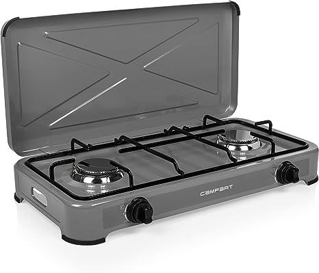 Campart GA-8402 Cocina de Camping a Gas Alberta – Seguridad térmica – 2 quemadores – 2 x 1500 W – Gris, Adultos Unisex