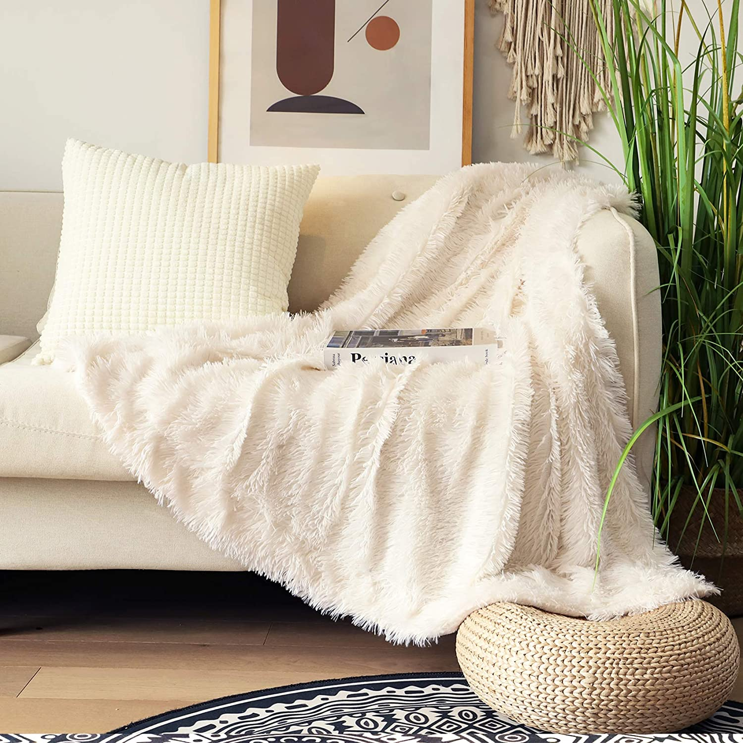 "Decorative Extra Soft Fuzzy Faux Fur Throw Blanket 50"" x 60"",Solid Reversible Lightweight Long Hair Shaggy Blanket,Fluffy Cozy Plush Comfy Microfiber Fleece Blankets for Couch Sofa Bedroom,Cream White"