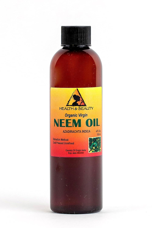 Neem Oil Virgin Organic Carrier Unrefined Cold Pressed 4 oz, 118 ml H&B OILS CENTER Co.