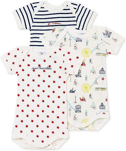 Pack of 3 Petit Bateau Baby Girls Shaping Bodysuit