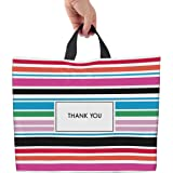 """Thank You Bags for Business Striped Plastic Bags 12""""x15"""" 50 Pack Shopping Bags for Boutique with Soft Loop Handle (12""""x15"""")"""
