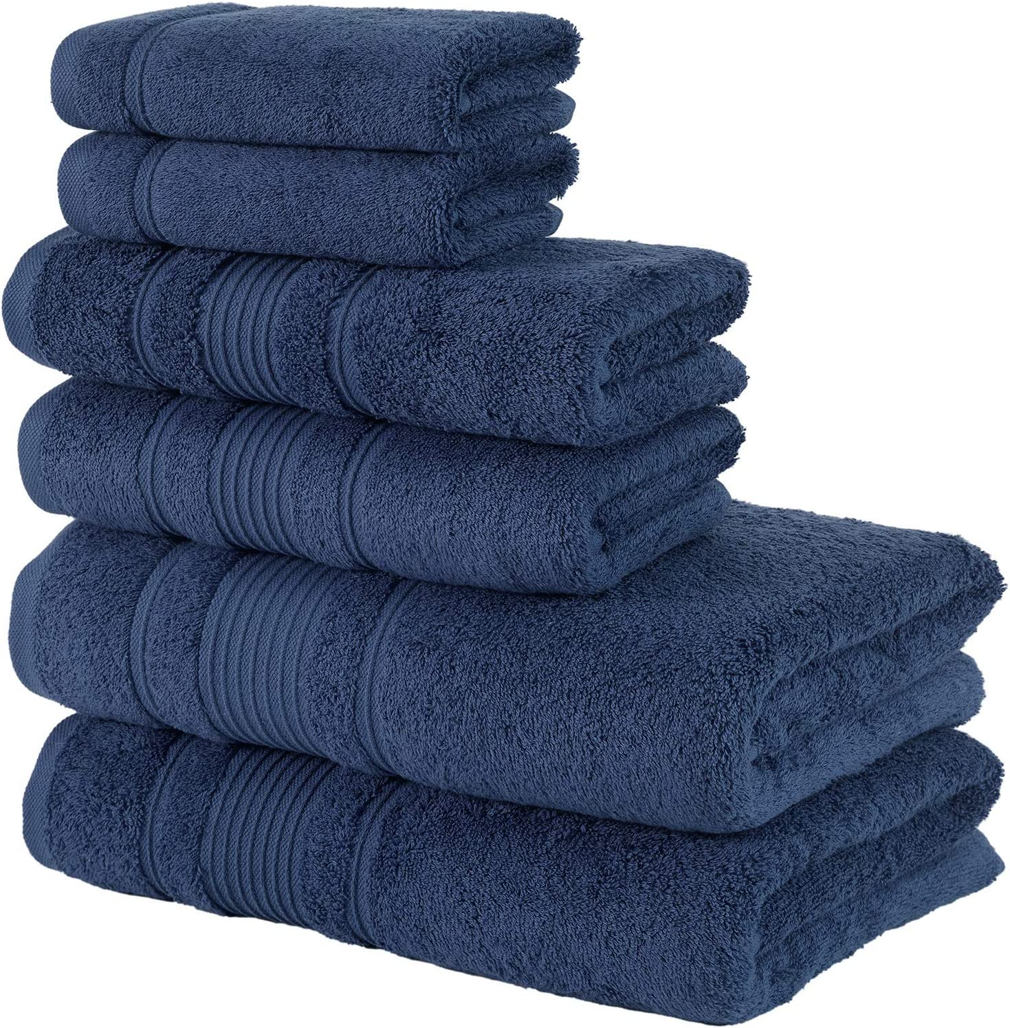 Qute Home Spa & Hotel Towels 6 Piece Towel Set, 2 Bath Towels, 2 Hand Towels, and 2 Washcloths - Navy Blue