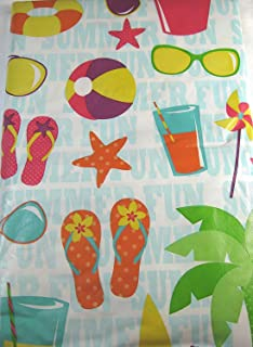 Bon Summertime Fun Vinyl Umbrella Tablecloth With Hole And Zipper Assorted  Sizes (52 X 70 Oblong