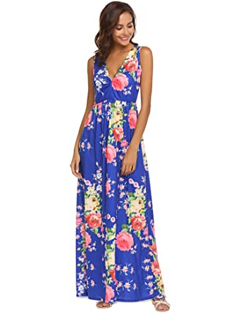 8c823b3064a2 Sherosa Women s Summer Floral Printed V Neck Sleeveless Maxi Casual Dress  (Blue