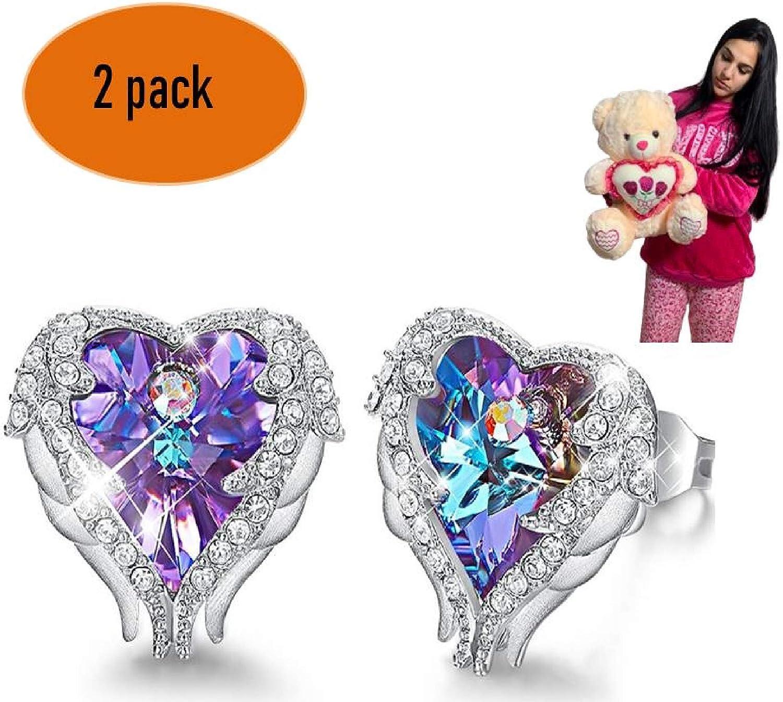 ML Kit Pendientes de Mujer Plata de Ley de Corazon Piedras de Cristal de Swarovski aretes + Oso de Peluche 45cm Bebe tierno Muy Suave Osito /