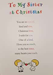 To My Sister at Christmas - Cute Christmas Luxury Greetings Cards by Clarabelle Cards 5 x 7 inches
