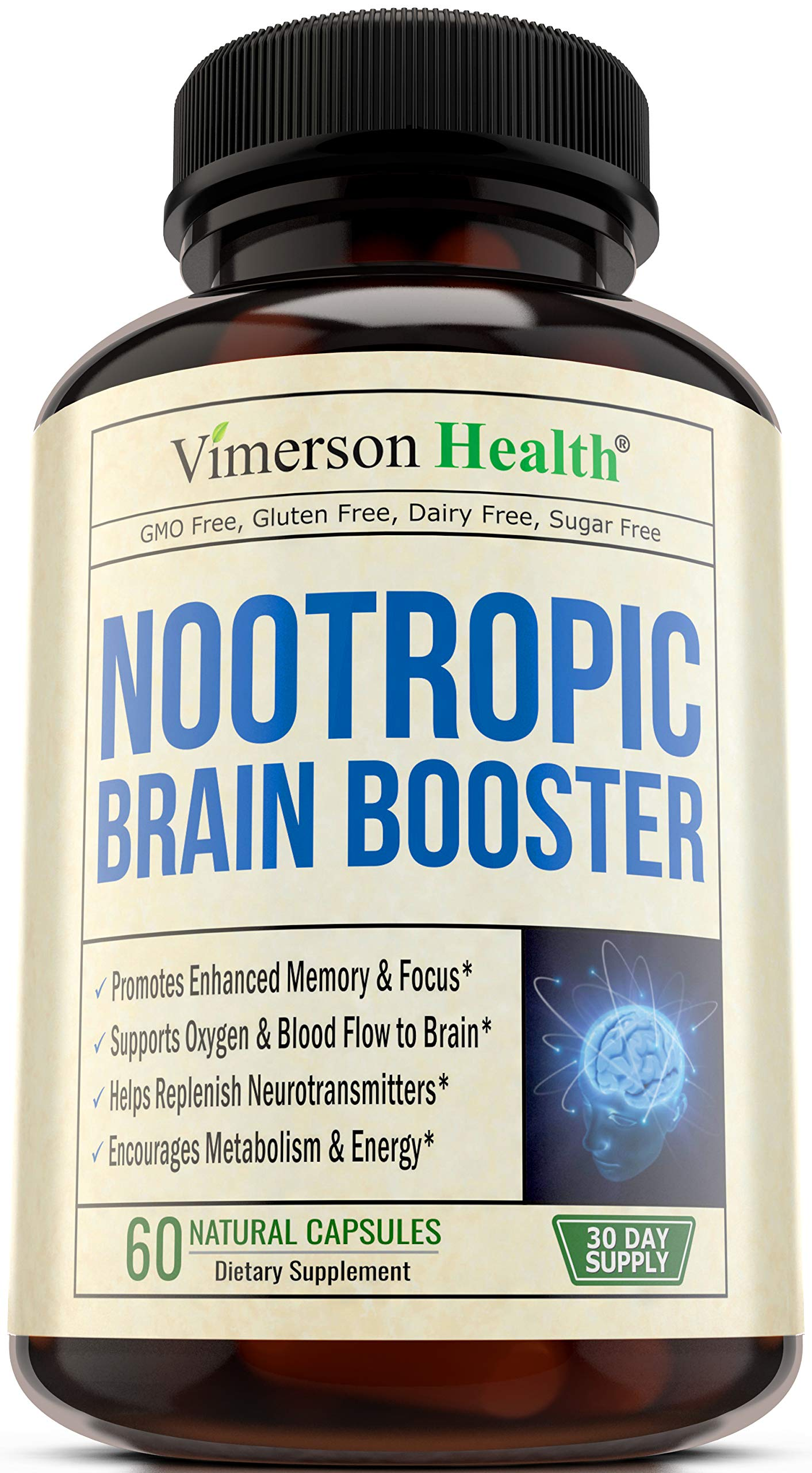 Nootropic Brain Booster with Copper. Memory, Mind & Focus - Promotes Concentration, Cognition & Mental Performance. Boosts Metabolism & Energy. Best Supplement with Gaba + DMAE + Bacopa + Vitamins