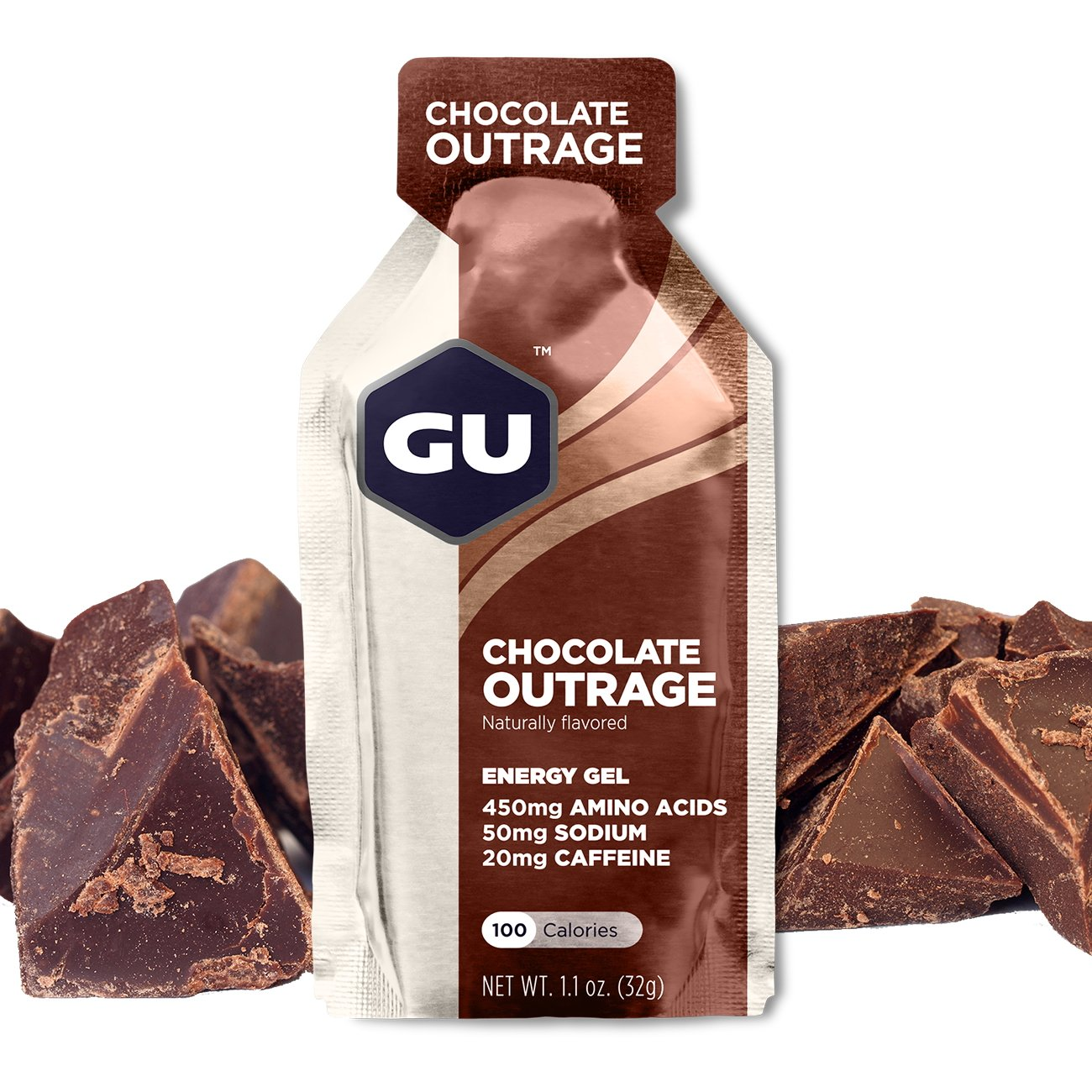 GU Energy Original Sports Nutrition Energy Gel, Chocolate Outrage, 8-Count