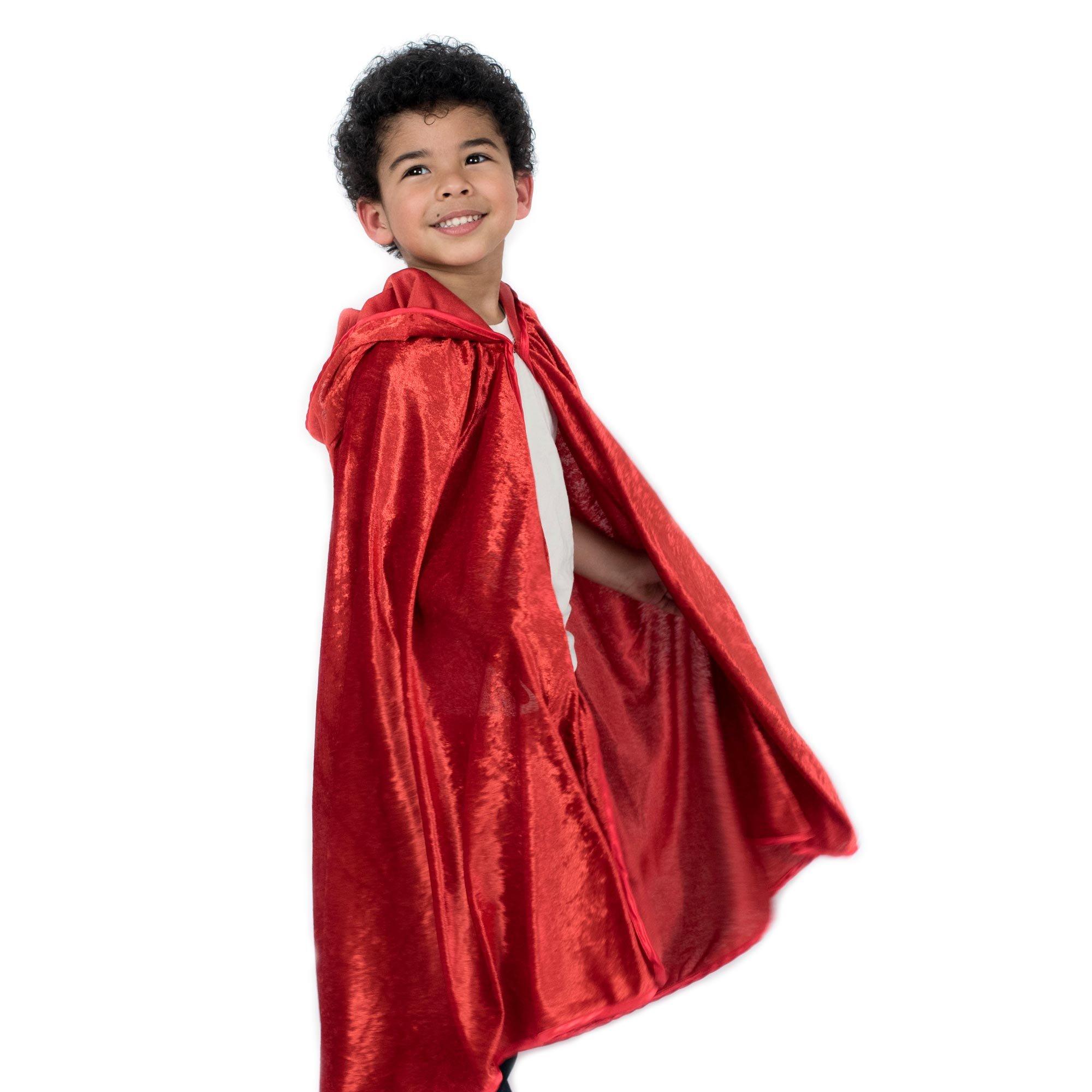 Kids Cosplay Hooded Cloak Cape - Red