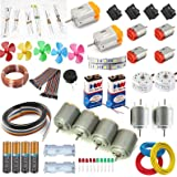vyga 5 Types 14 Pcs DC Motor with Buzzer and Jumber/2000 to 20000 RPM 10 Resistor Kit/High Speed with Battery Set -Pack of 50