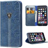 iPhone 6s Case, iPhone 6 Case, iPhone 6 Flip Case, iDoer Luxury Fashion Magnet Leather Wallet Flip Case Cover with Built-in Credit Card/ID Card Slots for Apple iPhone 6 / 6s Blue