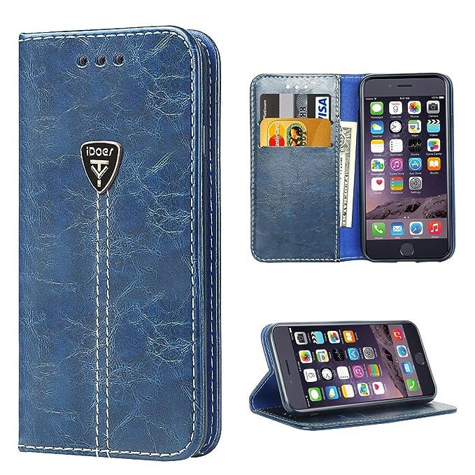 4 opinioni per Custodia iPhone 6, iDoer Custodia Protettiva Vintage libro Magnetico Portafoglio