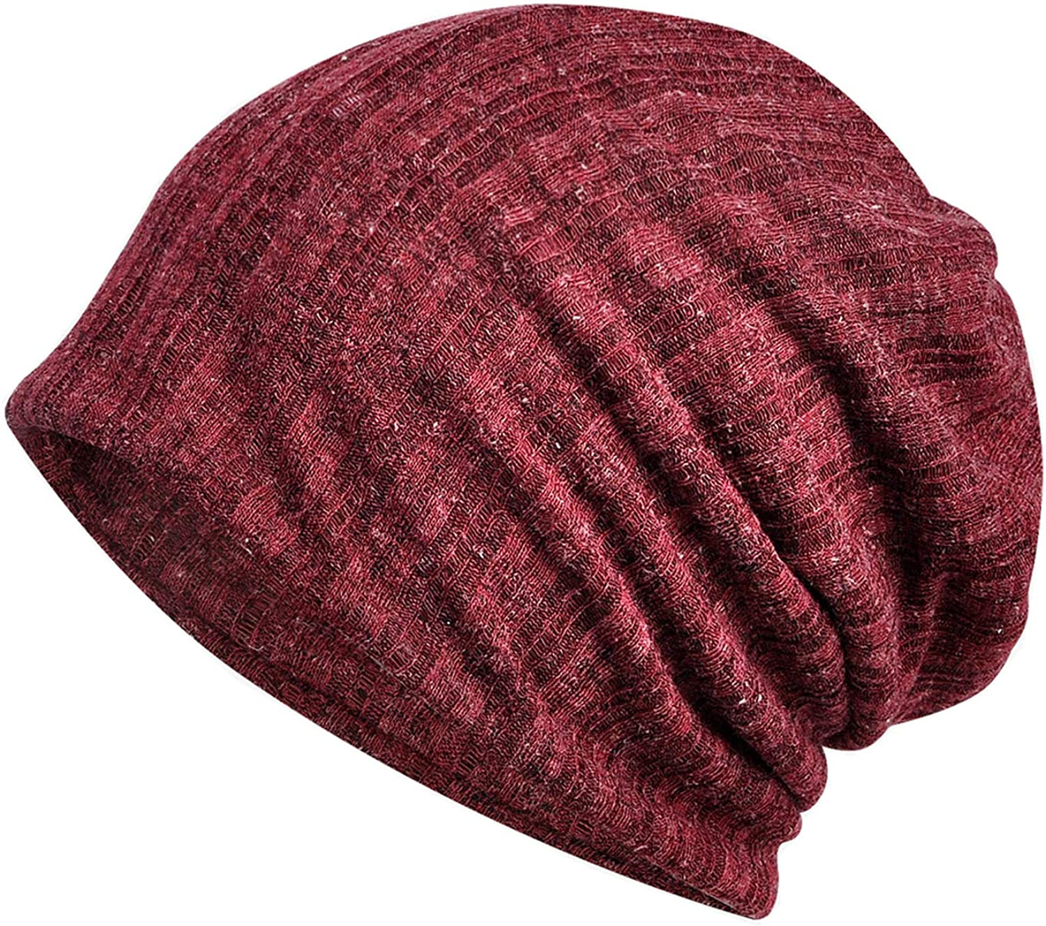 FUNSQUARE Fashion Beanies Cotton Hats Chemo Caps Cancer Headwear Skull Cap Turban Knitted hat for Women and Men (Claret-B) at  Women's Clothing store