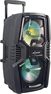 """Axess Portable Bluetooth Speaker with Double 8"""" Subwoofers 1.5'' Tweeter, Digital Display, Rich Bass Wireless Bluetooth Speaker Outdoor/Indoor AXESS PABT6023 with Telescopic Handle,LED Lights & Inputs"""