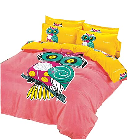 Amazon Com Cliab Owl Bedding Little Girls Twin Size Kids Bed Sheets