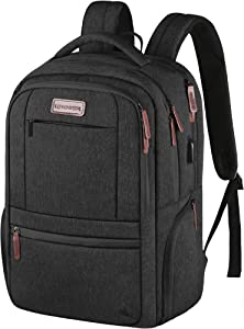 KROSER Laptop Backpack 15.6 Inch Laptop Computer Backpack with USB Charging Port Water-Repellent Travel Business Bag College School Casual Daypack for Men/Women-Charcoal Black