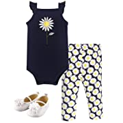 Hudson Baby Unisex Baby Bodysuit, Bottoms and Shoes, Daisy 3-Piece Set, 6-9 Months (9M)