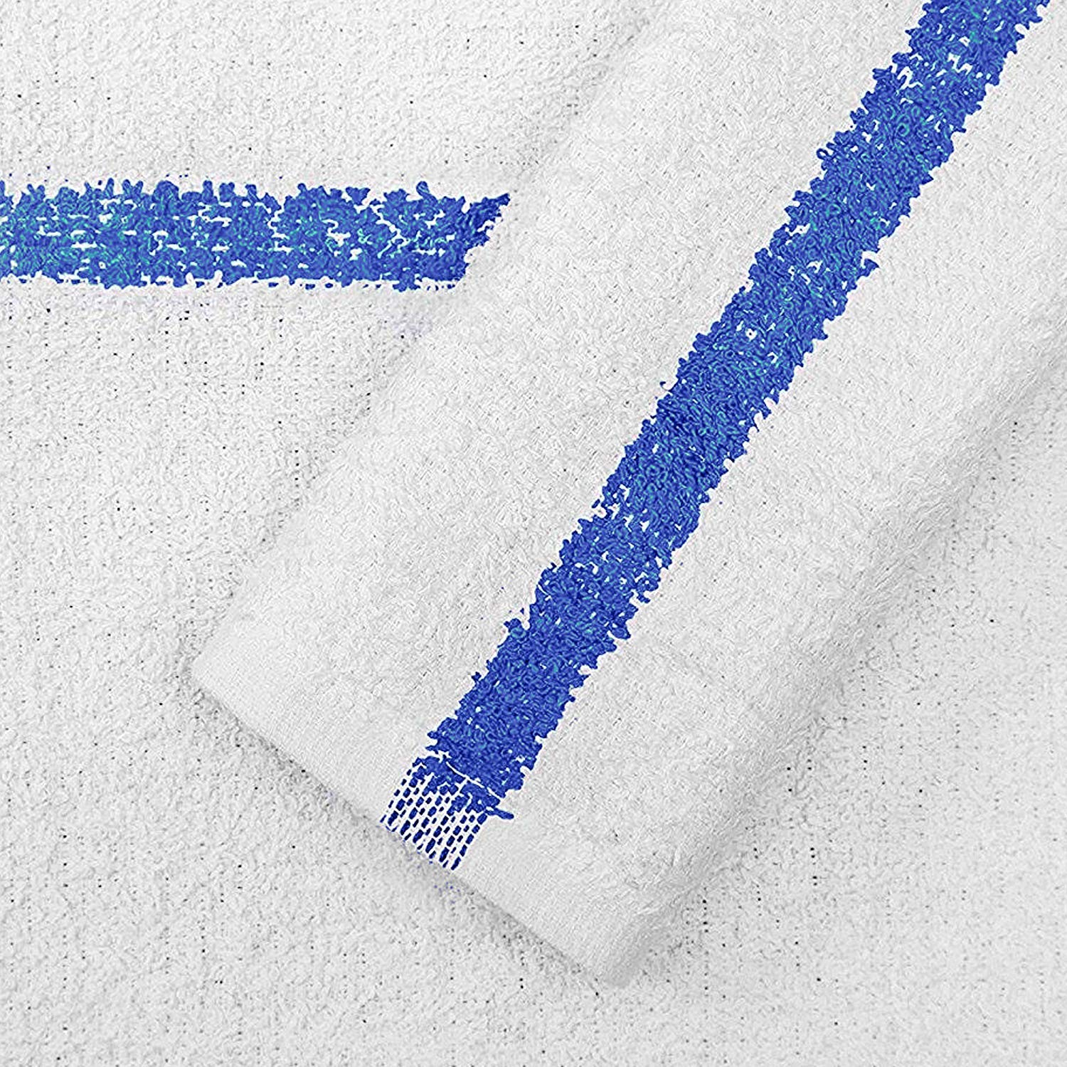 """12-Pack,100/% Cotton Bar Mop Towels White with Blue Stripe Thick and Absorbent 16/""""x19/"""" 12 PCS"""