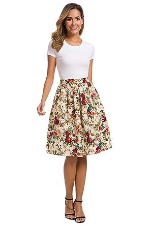 41118d289 HIKA Women's Retro High Elastic Waist Flare Pleated A-line Midi Skirt  (Small,