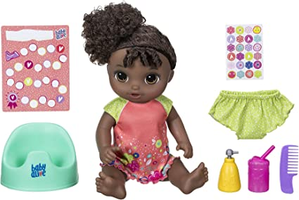 Amazon Com Baby Alive Potty Dance Baby Talking Baby Doll With Black Curly Hair Potty Rewards Chart Undies And More Doll That Pees On Her Potty For Girls And Boys 3 Years Old