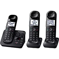 Panasonic Black Cordless Telephone with 3 Handsets and Answering Machine KX-TG3683B